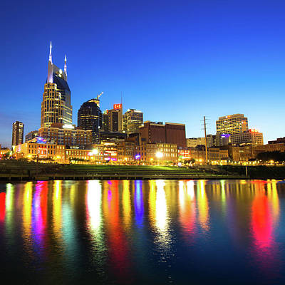 Royalty-Free and Rights-Managed Images - Nashville Skyline - Cumberland River Reflections by Gregory Ballos