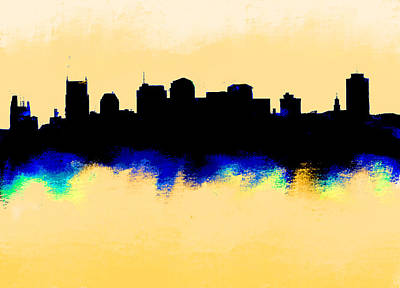 Nashville Skyline Painting - Nashville  Skyline  by Enki Art