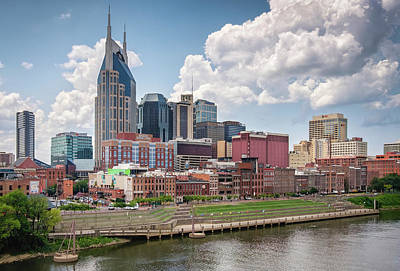 Nashville Skyline From The John Seigenthaler Pedestrian Bridge - Downtown Nashville Photograph Art Print