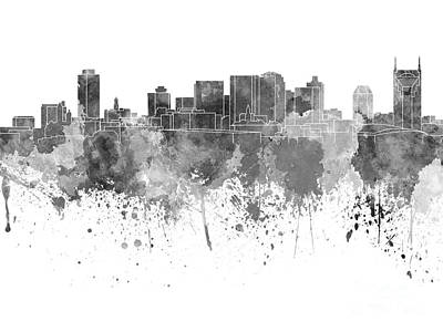 Nashville Skyline In Black Watercolor On White Background Print by Pablo Romero