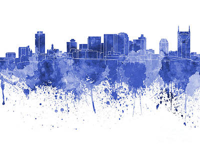 Nashville Skyline In Blue Watercolor On White Background Print by Pablo Romero