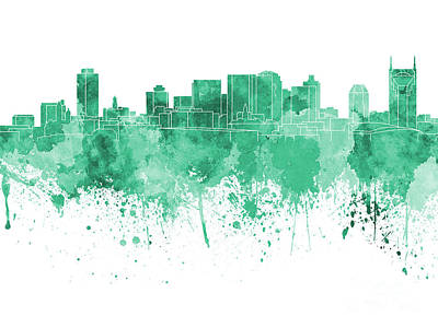 Nashville Skyline In Green Watercolor On White Background Print by Pablo Romero
