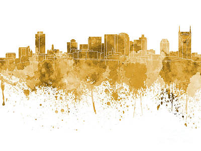 Nashville Skyline In Orange Watercolor On White Background Print by Pablo Romero