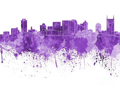 Nashville Skyline In Purple Watercolor On White Background Print by Pablo Romero