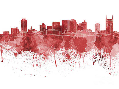 Nashville Skyline In Red Watercolor On White Background Print by Pablo Romero
