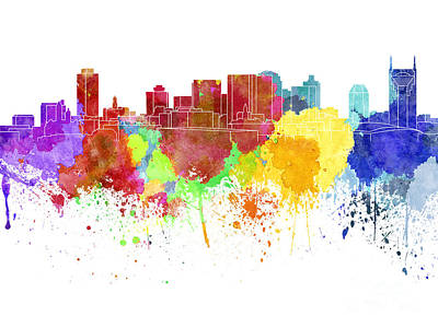 Nashville Skyline In Watercolor On White Background Print by Pablo Romero