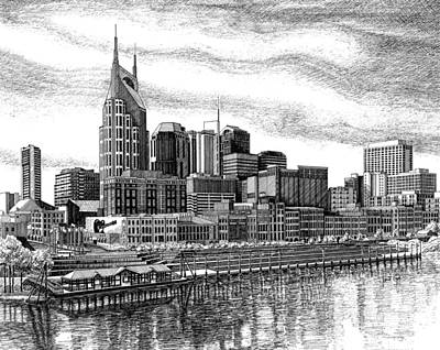 Downtown Nashville Drawing - Nashville Skyline Ink Drawing by Janet King