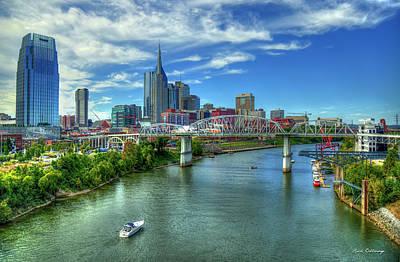Photograph - Nashville Skyline John Seigenthaler Pedestrian Bridge Cumberland River Cityscape Art by Reid Callaway