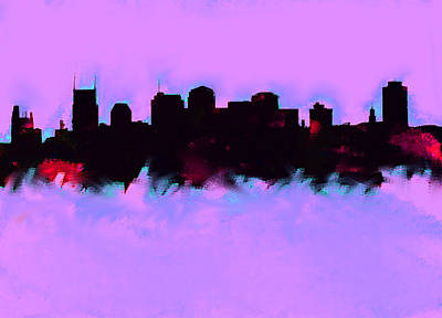 Of Nashville Skyline Painting - Nashville  Skyline Mauve  by Enki Art