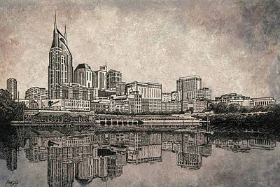 Cumberland River Painting - Nashville Skyline Mixed Media Painting  by Janet King