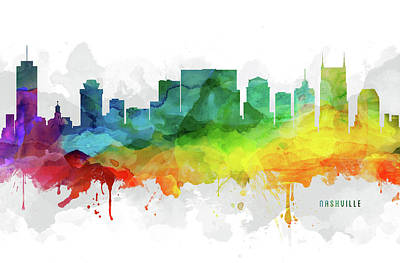 Nashville Skyline Wall Art - Digital Art - Nashville Skyline Mmr-ustnna05 by Aged Pixel