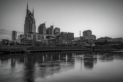 Photograph - Nashville Skyline Monochrome Black And White by Gregory Ballos