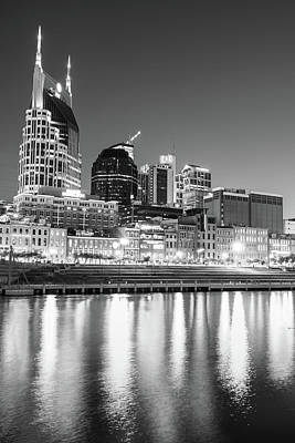 Photograph - Nashville Skyline Nights - Vertical Black And White by Gregory Ballos