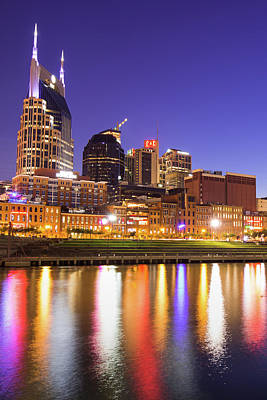Photograph - Nashville Skyline Nights - Vertical by Gregory Ballos