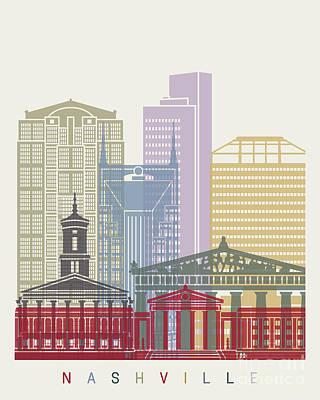 Nashville Tennessee Painting - Nashville Skyline Poster by Pablo Romero