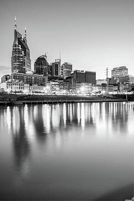 Photograph - Nashville Skyline Reflections - Black And White Edition by Gregory Ballos