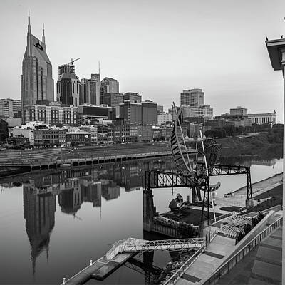 Photograph - Nashville Skyline - Square Format - Black And White by Gregory Ballos