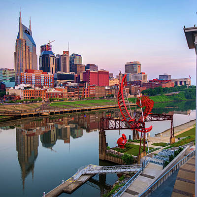 Photograph - Nashville Skyline - Square Format by Gregory Ballos