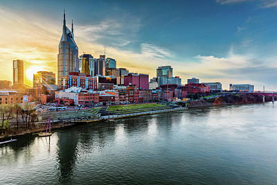 Photograph - Nashville Skyline Sunset by Josh Bryant