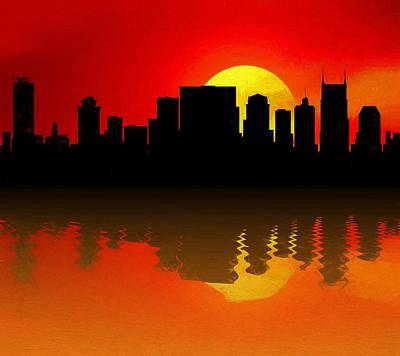 Nashville Skyline Sunset Reflection Art Print by Dan Sproul