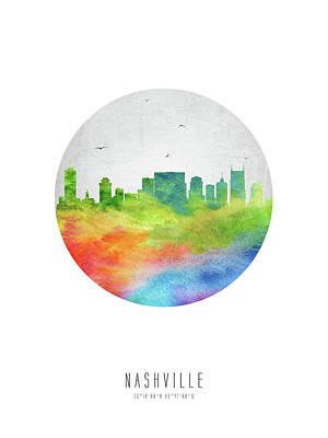 Nashville Skyline Wall Art - Digital Art - Nashville Skyline Ustnna20 by Aged Pixel