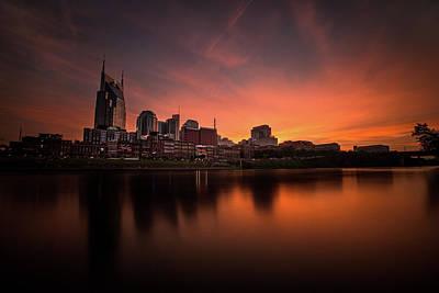 Nashville Sunset Over A Silky Skyline Reflection Art Print by Lucas Foley