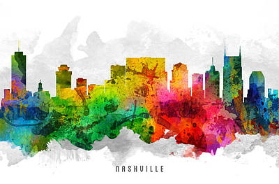 Nashville Skyline Wall Art - Painting - Nashville Tennessee Cityscape 12 by Aged Pixel