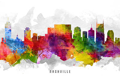 Nashville Skyline Wall Art - Painting - Nashville Tennessee Cityscape 13 by Aged Pixel