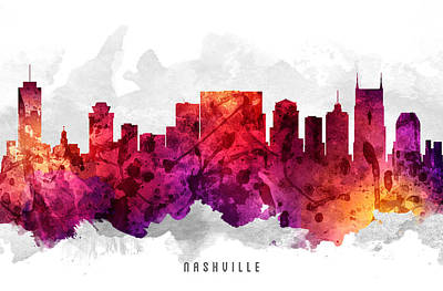 Nashville Skyline Wall Art - Painting - Nashville Tennessee Cityscape 14 by Aged Pixel