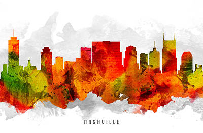 Nashville Skyline Wall Art - Painting - Nashville Tennessee Cityscape 15 by Aged Pixel
