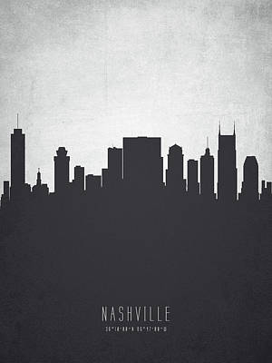Nashville Skyline Wall Art - Painting - Nashville Tennessee Cityscape 19 by Aged Pixel