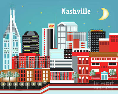 Nashville Tennessee Horizontal Skyline Art Print by Karen Young