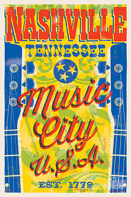 Loretta Lynn Digital Art - Nashville Tennessee Poster by Jim Zahniser