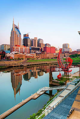 Photograph - Nashville Tennessee Skyline Along The Cumberland by Gregory Ballos
