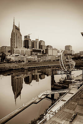Photograph - Nashville Tennessee Skyline Along The Cumberland - Sepia by Gregory Ballos