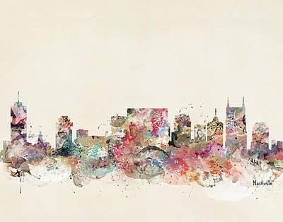 Nashville Tennessee Painting - Nashville Tennessee Skyline by Bleu Bri