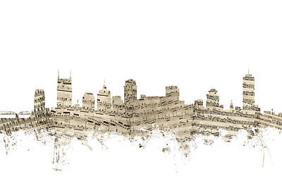 Nashville Skyline Wall Art - Digital Art - Nashville Tennessee Skyline Sheet Music by Michael Tompsett