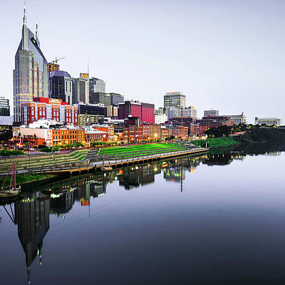 Photograph - Nashville Tennessee Skyline Vanishing Point - Square Format by Gregory Ballos