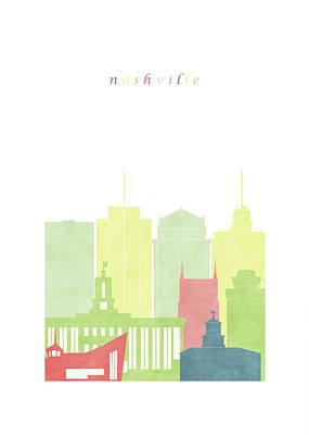 Nashville Skyline Digital Art - Nashville Tennessee Tn Skyline  by GreenGreenDreams Filippo Usai