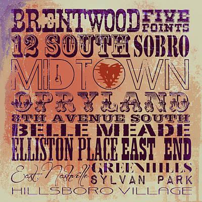 Brentwood Tn Digital Art - Nashville Tn V3 by Brandi Fitzgerald