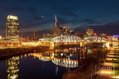 Photograph - Nashville Twilight Skyline II by Brian Jannsen