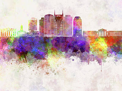 Nashville V2 Skyline In Watercolor Background Print by Pablo Romero