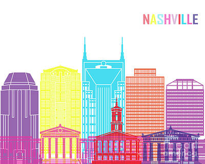 Nashville V2 Skyline Pop Print by Pablo Romero