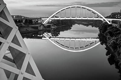 Photograph - Nashville Veterans Memorial Bridge In Black And White by Gregory Ballos