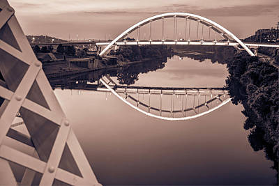 Photograph - Nashville Veterans Memorial Bridge In Sepia by Gregory Ballos