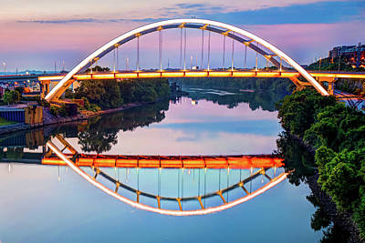 Photograph - Nashville Veterans Memorial Bridge Reflection by Gregory Ballos