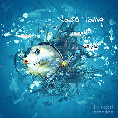 Digital Art - Naso Tang Fish by Methune Hively