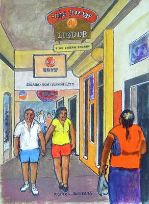 Painting - Nassau Bahamas Sidewalk Stroll by Frank Hunter