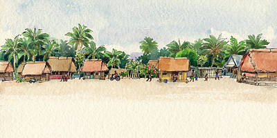 Painting - Nassau, Cook Islands, South Pacific by Judith Kunzle