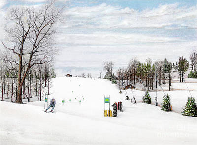 Snowscape Painting - Nastar At Seven Springs Mountain Resort by Albert Puskaric